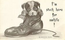 CARTE POSTALE POST CARD FANTAISIE DOG CHIEN I AM STUCK HERE FOR A WHILE