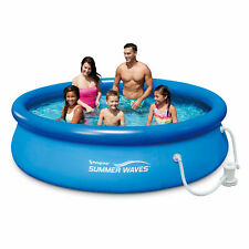 """Summer Waves 10'x30""""Quick Set Inflatable Ring Above Ground Pool w/ Filter Pump"""