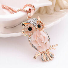 Fashion Jewelry Crystal Opal Owl Pendant Chain Rose Gold Sweater Long Necklace