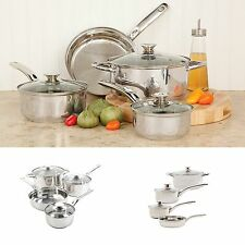 7 Piece Stainless Steel Cookware Set Cooking Pots and Pans Encapsulated Bottom