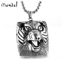 MENDEL Mens Punk Tiger Head Pendant Necklace Stainless Steel Men Animal Jewelry