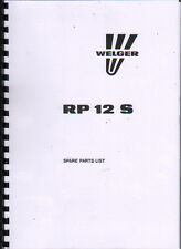 """Welger """"RP 12 S"""" Round Baler Illustrated Spare Parts List Book"""