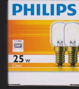 2 pack Philips SCREW Tubular Light Bulb 25W E14  CLEAR  OVEN Fridge Microwave