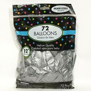 "72 Pcs 12"" Pearlized SILVER Balloons Shiny Helium Latex Birthday Fun Anniversary"