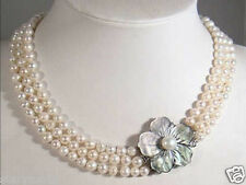 3 Rows 7-8mm White Akoya Pearl Necklace Shell Clasp