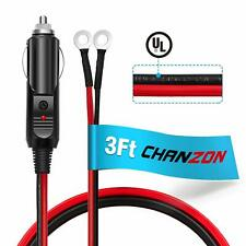 Ul WireChanzon 3Ft Male Plug Cigarette Lighter Outlet + Eyelet Terminal Sprin.