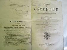 """Amiot """"éléments de Géométrie"""" /Librairie Ch. Delagrave 1877"""
