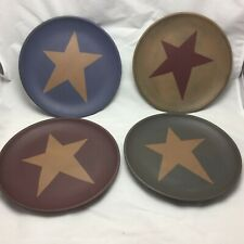 Primitive Star Wooden Plates Set 4 Country Farmhouse Table Top Decor 8.75""