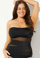 $78 NWT Black Mesh Wrap Tankini Swim Top Sheer Sz 8 Swimsuits for all 1711