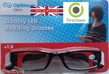 Black Framed LED Reading Glasses presbyopic adults glasses with LED light Power