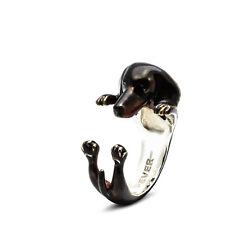 Dog Fever Sterling Silver Dachshund Enamel Hug Ring