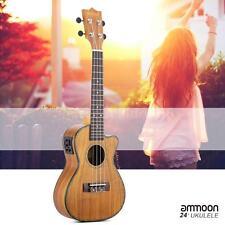 "ammoon 24"" Cutaway Ukulele Hawaii Guitar with LED EQ 4 Strings Gift Ukelele W5P5"
