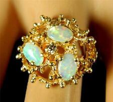 Estate Engagement Australian Opal Diamond Ring FILIGREE 14K Yellow Gold VideO