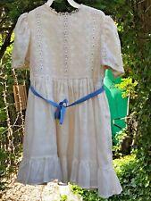 Vintage Cinderella Girl's Dress for Flower Girl Antique White Cotton Blue Trim