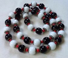 Opaque Glass Necklace Czech Beads Black White Red 50s 60s Vintage Rockabilly Mod
