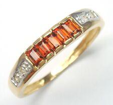 SYJEWELLERY 375 / 9CT YELLOW GOLD NATURAL GARNET & DIAMOND BAND RING   R1218