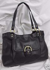 COACH Campbell Black Leather Belle Large Carryall Tote #24961 ~ MINT!
