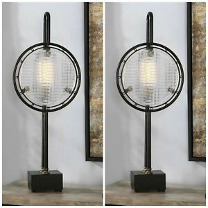 """TWO INDUSTRIAL DECOR AGED METAL TEXTURED GLASS  XL 37"""" ARDELL ACCENT TABLE LAMP"""