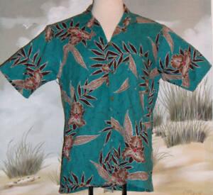 BAREFOOT IN PARADISE Hawaiian Shirt Turquoise Vintage 70s Size Medium