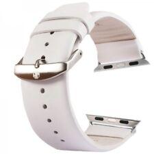 Premium Echtleder Leder Armband Weiss für Apple Watch 42mm iWatch Zubehör Neu