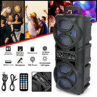 """Dual 6.5"""" Woofer Portable FM Bluetooth Party Speaker Heavy Bass Sound Remote USA"""