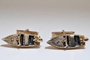 Vintage SWANK Cuff Links Motor Speed Boat Cuff Links