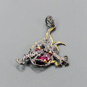 Handmade Ruby Pendant Silver 925 Sterling  /NP15157