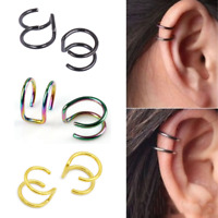 Ear Cuff Wrap Earrings No Piercing-Clip On Ear Clips Silver Gold Black Rainbow