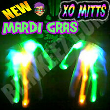 Electro Skeleton BLUE GREEN ORANGE LED Light Up HALLOWEEN Dance Party Gloves