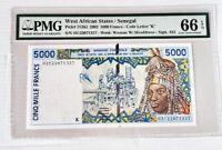 West African States / Senegal 5000 Francs, 2002, P-713K1,K, PMG 66 EPQ, Gem Unc!