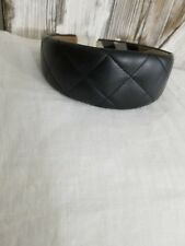 WOMENS AUTHENTIC BURBERRY LONDON BLACK LEATHER QUILTED HEADBAND