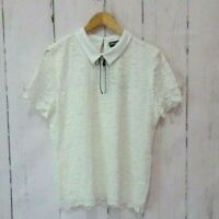 NWT Karl Lagerfield Women's Blouse White Lace Overlay Top Size XL