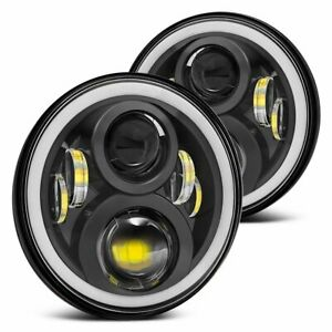 """Fit For Chevy Monte Carlo 70-75 7"""" Round Projector LED Headlights Halo DRL HiLo"""