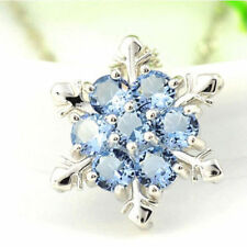 925 Silver Filled Snowflake Blue Topaz Gemstone Necklace Pendant Chrismas Xmas