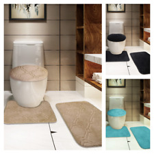 Modern Chic 3PC Set Quatrefoil Design  Bathroom Countour Mat Bath Rug Lid Cover