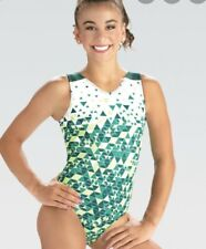 NWT GK Elite Lime Kelly Green White Gymnastics Leotard Child & Adult Sizes