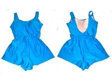 Sz 10-16 - Turquoise Blue One Piece Romper Boyshorts Swimsuit w/Tummy Control