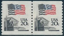 "#1895 Var. 20¢ ""Flag"" Coil Pair Blue Color Shifted Major Error Bq8657"