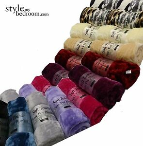 LARGE Faux Fur Soft Touch Blanket Sofa / Bed Throw in 11 Colours + Animal Prints