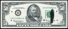 "1963-A $50 FRN FEDERAL RESERVE NOTE ""INK SMEAR ERROR"" GEM UNCIRCULATED"