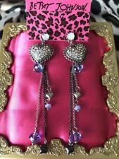 Betsey Johnson Bonjour Butterfly Blue Opal Crystal AB Paved Heart Earrings RARE