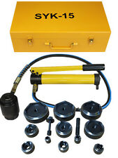 """15ton 1/2"""" to 4"""" Hydraulic Knockout Punch Kit Hand Pump 10 Dies Tool Hydra"""