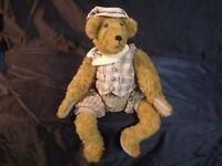 "ADORABLE VINTAGE MOHAIR 14 "" STEIFF SITTING TEDDY BEAR WITH OUTFIT"