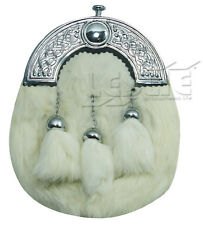 Mens Scottish White Rabbit Fur Kilt Sporran - Celtic Cantle'' LI-SCO-0088