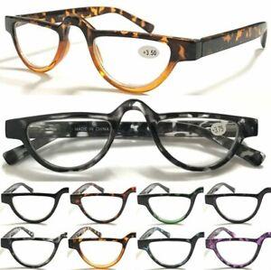 324 Vintage Half-moon Reading Glasses/Spring Hinge/Colorful Tortoiseshell Specs