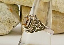 Brazilian CITRINE Ring 925 Sterling Silver Size 8.5 Hinged Top Opens Up-Macabre