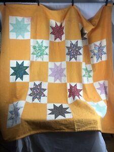 Antique Vintage Yellow Orange Eight Point Star Handmade Quilt 66X74