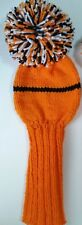 Custom DRIVER COVER ORANGE/BLACK/WHITE HAND KNIT