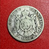 #1365 - RARE 2 francs 1866 BB Strasbourg Napoléon III TB+ - FACTURE