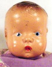Vintage Composition Baby Doll Brown Molded Hair Blue Eyes Jointed No Mark